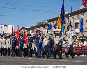 LUGANSK - MAY. 9: Victory Day is national holiday in Ukraine. Victory Day marks capitulation of Nazi Germany to Soviet Union..At parade of military portrayed police. May 9, 2013, Lugansk, Ukraine