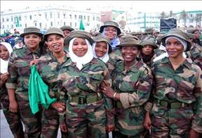 African women in the previous revolutionary armed forces of Libya under martyred leader Col. Muammar Gaddafi. Gaddafi and the Jamahiriya were overthrown in 2011 by an imperialist plot. by Pan-African News Wire File Photos