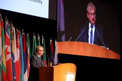 Russia's special envoy on Syria Alexander Lavrentiev addresses the opening session of the international conference on the return of refugees in Damascus on November 11, 2020.